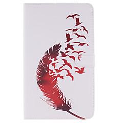 For Samsung Galaxy etui Kortholder / Pung / Med stativ / Flip / Mønster Etui Heldækkende Etui Fjer Kunstlæder SamsungTab 4 10.1 / Tab 4