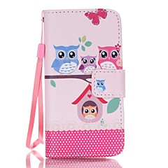 For iPhone 5 Case Card Holder / Wallet / with Stand / Flip / Pattern Case Full Body Case Owl Hard PU Leather iPhone SE/5s/5