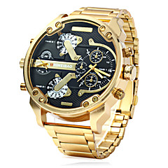 Men's Military Fashion Dual Time Zones Calendar Gold Steel Band Quartz Watch Wrist Watch Cool Watch Unique Watch