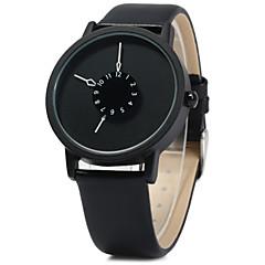Hombre Reloj de Pulsera Cuarzo Reloj Casual Piel Banda Negro Marca-