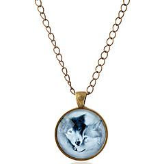 Herre Dame Par Halskædevedhæng Dyreformet Ulv Ædelsten Glas Legering minimalistisk stil Sølv Bronze Smykker For Fest Daglig Afslappet1