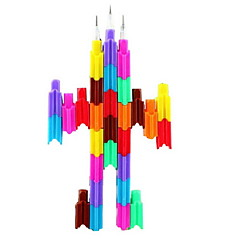 4PCS Interesting Changeable Building Block Pattern Pencil