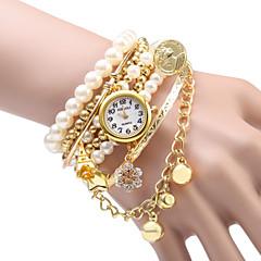 JUBAOLI Damskie Modny Zegarek na bransoletce Kwarcowy Stop Pasmo Błyszczące Perły Srebro Złoty Gold Silver