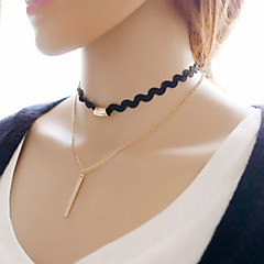 Modische Halsketten Halsketten Schmuck Party / Alltag / Normal Doppelschicht / Vintage Aleación Goldfarben / Schwarz 1 Stück Geschenk