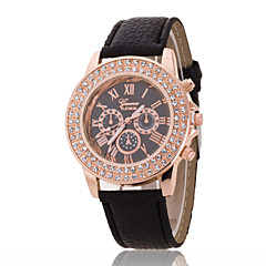 Women's Wrist Watch The New Double-Diamond Rose Gold Dial Geneva PU Band Quartz Watch(Assorted Colors)