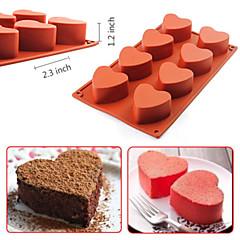8-Cavity Heart-shaped Silicone Pudding Chocolate Mold Cupcake 3D Baking Cake Pan(Random Color)