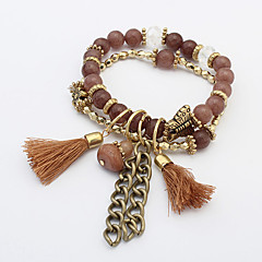 Women's European Style Retro Fashion Butterfly Beaded Tassels Charm Bracelets