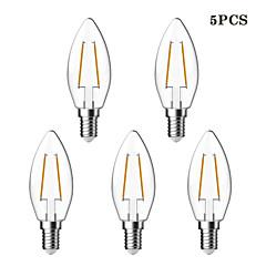 5 kpl kwb E14 1.5W / 2W 2 COB 200 lm Lämmin valkoinen C35 edison Vintage LED-hehkulamput AC 220-240 V