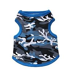 Koty / Psy T-shirt Niebieski / Black Ubrania dla psów Lato kamuflaż Modny