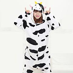 Kigurumi Pajamas Milk Cow Leotard/Onesie Halloween Animal Sleepwear Black/White Patchwork Coral fleece Kigurumi UnisexHalloween /