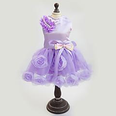 Cães Vestidos Púrpura / Rosa Roupas para Cães Verão / Primavera/Outono Floral / Botânico Da Moda / Casamento / Ano Novo