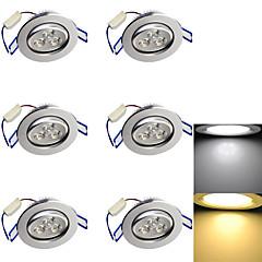 3W Oświetlenie do zabudowy 3 High Power LED 280 lm Ciepła biel / Zimna biel Dekoracyjna AC 85-265 / AC 220-240 / AC 110-130 V 6 sztuk