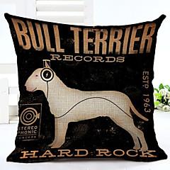 Novelty Dog Pattern Linen Pillowcase Sofa Home Decor Cushion Cover (18*18inch)