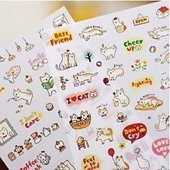 1PC Cute Style Cats Cartoon Animals Sticker PVC Cartoon Diary Stickers Scrapbook Decoration Stationery(Style random)