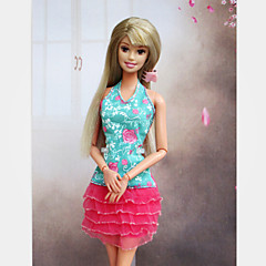 Casual Dresses For Barbie Doll Pink / Light Green Dresses For Girl's Doll Toy