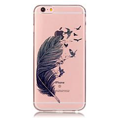 läpinäkyvä värillinen höyhen kuvio TPU pehmeä kotelo puhelin iPhone 6/6 plus / 6s / 6s plus