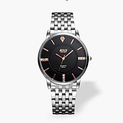 Hombre Reloj de Moda Cuarzo Resistente al Agua Reloj Casual Acero Inoxidable Banda Plata Marca