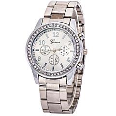 Женские Модные часы Кварцевый Повседневные часы Имитация Алмазный Нержавеющая сталь Группа Серебристый металл Золотистый марка