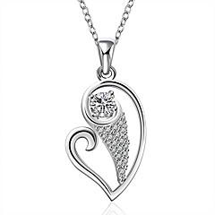 Γυναικεία Κολιέ Τσόκερ Κρεμαστά Κολιέ Κολιέ Δήλωση Ασήμι Στερλίνας Ζιρκονίτης Cubic Zirconia Heart Shape Καρδιά Μοντέρνα Λευκό Κοσμήματα