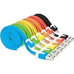 1m farverig usb 2,0 han til micro USB 2.0 mandlige flade kabel til Samsung Huawei htc Android-telefoner