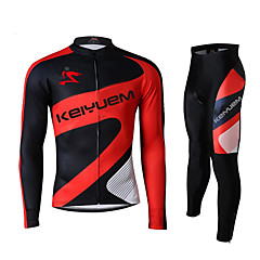 KEIYUEM® Cycling Jersey with Tights Women's / Men's / Unisex Long Sleeve BikeWaterproof / Breathable / Quick Dry / Windproof / Insulated