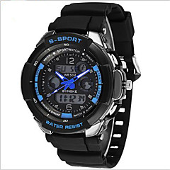 Men's Wrist watch Quartz Japanese Quartz LCD Calendar Chronograph Water Resistant / Water Proof Dual Time Zones Alarm Luminous Rubber Band