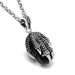 African Talons With Black Agate Necklace Pendant