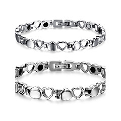 Couple's Jewelry Health Care Silver Titanium Steel Magnetic Therapy Bracelet Fashion  Jewelry Christmas Gifts