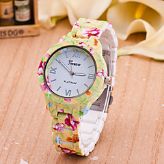 Mujer Reloj de Moda Cuarzo Plastic Banda Flor Amarillo Marca-
