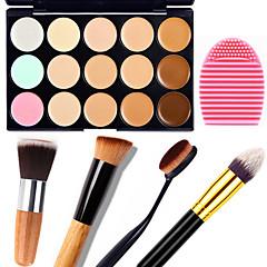 1 Adet 15 renk doğal kontur yüz kremi / yüz kapatıcı makyaj paleti + 1 kontur fırçası + 1 fırça yumurta kamuflaj