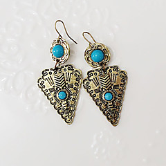 Druppel oorbellen Modieus Vintage PERSGepersonaliseerd Hars Turkoois Legering Kruisvorm Geometrische vorm Zilver Bronzen Sieraden Voor
