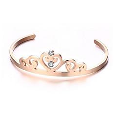Women's Fashion Crown Style Gold Stainless Steel Cuff Bracelet
