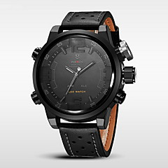 Hombre Reloj Deportivo Cuarzo Japonés LED / Calendario / Resistente al Agua / Dos Husos Horarios / alarma / Cronómetro Piel Banda Negro