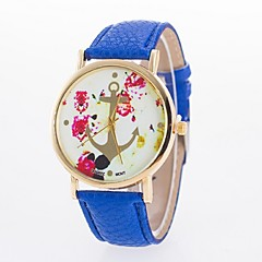 Женские Модные часы Повседневные часы Кварцевый PU Группа Цветы Черный Белый Синий Красный Коричневый Розовый Роуз