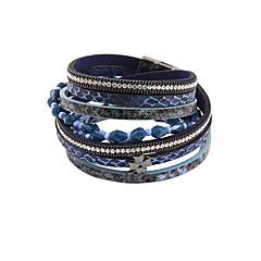 leather Charm BraceletsFashion Women 4 Rows Stone Set Beaded Wrap Leather Bracelet