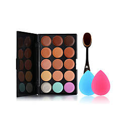 15 renk makyaj fırçası ve küçük boyutlu makyaj süngerleri palet Kapatıcı