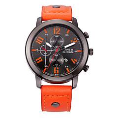 Men's Fashion Watch Calendar Casual Watch Quartz Leather Band Black Red Orange Brown