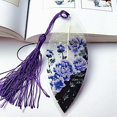 Chinese Painting Purple Peony Leaf Veins Bookmark