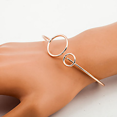 Golden Silver Hollow Circle Cuff Bangle Bracelet Jewelry Set (6*7cm)