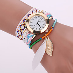 Women's White Case Analog Quartz Feather Leather Fabric Bracelet Watch for Party