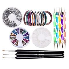 köröm készlet 30 csíkozás szalag&12 ezüst strasszokkal&pontozás toll