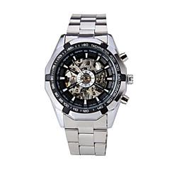 WINNER Hombre Reloj de Pulsera El reloj mecánico Cuerda Automática Huecograbado Acero Inoxidable Banda De Lujo Plata Blanco Negro
