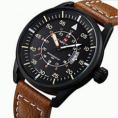 NAVIFORCE® Men's Sport Watch Military Watch Wrist watch Japanese Quartz Calendar Water Resistant / Water Proof Noctilucent Leather Band Watch