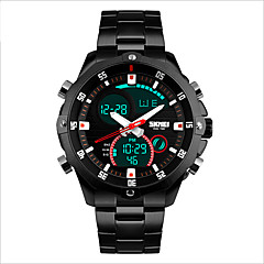 Hombre Reloj Deportivo Cuarzo / Cuerda Manual / Cuarzo Japonés LED / Resistente al Agua / Reloj Casual Acero Inoxidable BandaNegro /