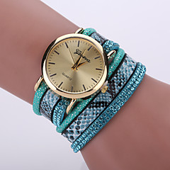 Women's Bohemian Style Snake Leopard Leather Band Gold Case Analog Quartz Bracelet Fashion Watch