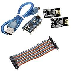 mini nano v3.0 atmega328p mikro hallitus w / usb-kaapeli + nRF24L01, 2,4 GHz langaton lähetin pakki arduino