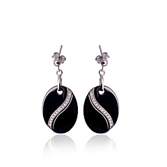Earring Oval Jewelry Women Fashion Wedding / Party / Daily / Casual Sterling Silver / Ceramic 1 pair Black / White
