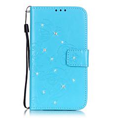 Volledig Lichaam Kaarthouder / Strass / met Tribune Solide Kleuren PU-leer Zacht Card Holder Geval voor Samsung GalaxyS7 edge / S7 / S6