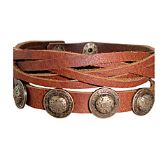 Vintage European Bardian Punk Alloy Leather Bracelet 1pc