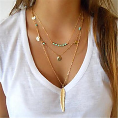 Women Leaf Charm Link Chain Necklace Lariat Infinity Infinito MultiLayer Gold Pendant Necklace